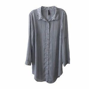 Torrid Grey Stripe Button Front Shirt Dress Swim L